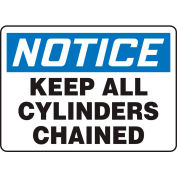 """Accuform MCPG800VA Notice Sign, Keep All Cylinders Chained, 10""""W x 7""""H, Aluminum"""