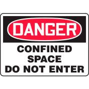 """Accuform MCSP006VA Danger Sign, Confined Space Do Not Enter, 10""""W x 7""""H, Aluminum"""