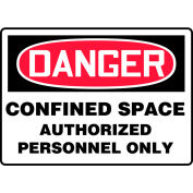"""Accuform MCSP140VP Danger Sign, Confined Space Authorized Personnel Only, 10""""W x 7""""H, Plastic"""