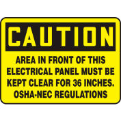 "Accuform MELC639VP Caution Sign, Area In Front Of This Electrical, 10""W x 7""H, Plastic"