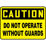 """Accuform MEQC720VA Caution Sign, Do Not Operate Without Guards, 10""""W x 7""""H, Aluminum"""