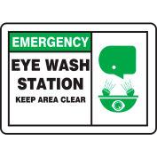 "Accuform MFSD927VP Emergency Sign, Eye Wash Station Keep Area Clear (Graphic), 14""W x 10""H, Plastic"