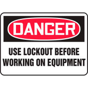 "Accuform MLKT021VS Danger Sign, Use Lockout Before Working On Equipment, 10""W x 7""H, Adhesive Vinyl"