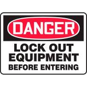 "Accuform MLKT106VS Danger Sign, Lockout Equipment Before Entering, 10""W x 7""H, Adhesive Vinyl"
