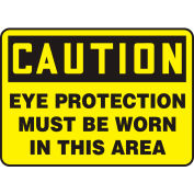 "Accuform MPPA605VA Caution Sign, Eye Protection Must Be Worn In This Area, 10""W x 7""H, Aluminum"