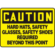 "Accuform MPPE441VP Caution Sign, Hard Hats, Safety Glasses..., 10""W x 7""H, Plastic"