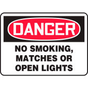 "Accuform MSMK136VS Danger Sign, No Smoking, Matches Or Open Lights, 14""W x 10""H, Adhesive Vinyl"