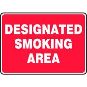 "Accuform MSMK403VS Designated Smoking Area Sign, 14""W x 10""H, Adhesive Vinyl"