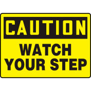 """Accuform MSTF645VS Caution Sign, Watch Your Step, 10""""W x 7""""H, Adhesive Vinyl"""