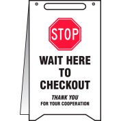 """Accuform® A-Frame Floor Sign, Stop Wait Here to Checkout, 20"""" H x 12"""" W, Plastic"""