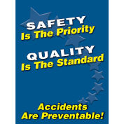 "Accuform PST104 Safety Is The Priority Poster, 18""W x 24""H, Laminated Poly"