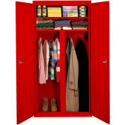 """Steel Cabinets USA W-367224DS-R Wardrobe Cabinet All-Welded 36""""Wx24""""Dx72""""H Red"""