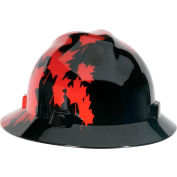 MSA V-Gard® Canadian Freedom Series Slotted Protective Hat, Black With Red Maple Leaf