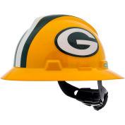 MSA Officially Licensed NFL V-Gard® Full Brim Hard Hat, Green Bay Packers