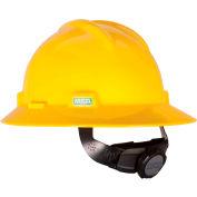 MSA V-Gard® Hard Hats, Full Brim, Fas-Trac® Suspension, Yellow, 475366 - Pkg Qty 20