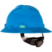 MSA V-Gard® Hard Hats, Full Brim, Fas-Trac® Suspension, Blue, 475368 - Pkg Qty 20