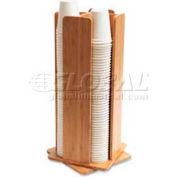"""Baumgartens Revolving Cup/Lid Dispenser, 8""""W x 8""""D x 18""""H, Bamboo"""