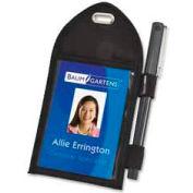 """Baumgartens® Badge Holder with Pen Loop, 2-1/4"""" x 3-1/2"""", Black"""