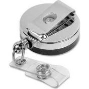 "Baumgartens® Heavy-Duty ID Card Reel with Belt Clip, 30"" Cord, 1-5/8"" Diameter, Black/Chrome"