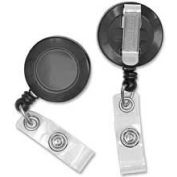 "Baumgartens® Card Reel with Belt Clip, 30"" Cord, 1-1/4"" Diameter, Black"