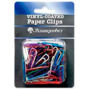 Baumgartens® Standard Non-Skid Vinyl-Coated Paper Clips, Assorted, 100/Pack