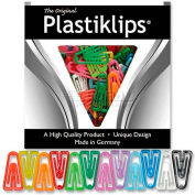 "Baumgartens® Plastiklips Paper Clips, Medium, 1"" x 9/16"", Assorted, 500/Box"