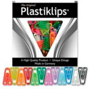 "Baumgartens® Plastiklips Paper Clips, Large, 1-3/8"" x 7/8"", Assorted, 200/Box"