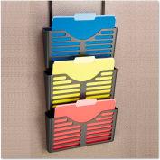 UniversalOne™ Plastic Cubicle Triple File Pocket, Black