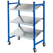 "UNEX Flow Cell Mobile Pick Tray Rack, 3 Flat Wire Shelves, 76""W x 28""D x 72""H"