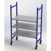 "UNEX Flow Cell Mobile Pick Tray Rack, 3 Flat Steel Shelves, 52""W x 28""D x 72""H"