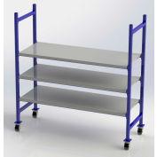 "UNEX Flow Cell Mobile Pick Tray Rack, 3 Flat Steel Shelves, 76""W x 28""D x 72""H"