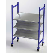 "UNEX Flow Cell Mobile Tray Rack, 3 Tilted Steel Shelves, 52""W x 28""D x 72""H"