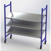 "UNEX Flow Cell Mobile Pick Tray Rack, 3 Tilted Steel Shelves, 76""W x 28""D x 72""H"