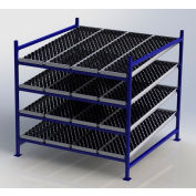 "UNEX Flow Cell Heavy Duty Gravity Rack w/ whelbed Starter, 4 Level, 72""W x 72""D x 72""H"