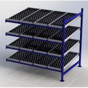 "UNEX Flow Cell Heavy Duty Gravity Rack w/ wheelbed Add-On, 4 Level, 72""W x 48""D x 72""H"