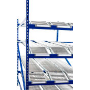 "UNEX Gravity Flow Roller Rack with Knuckled Span-Track Add-On 96""W x 96""D x 84""H with 4 Levels"