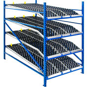 "UNEX Gravity Flow Roller Rack Knuckled Span-Track Wheel bed Starter 96""W x 96""D x 84""H with 4 Levels"