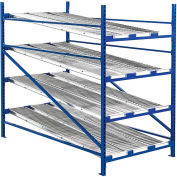 """UNEX Gravity Flow Roller Rack with Span Track Add-On 96""""W x 72""""D x 84""""H with 4 Levels"""