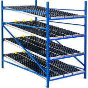 "UNEX Gravity Flow Roller Rack with Wheel Bed Add-On 48""W x 72""D x 84""H with 4 Levels"