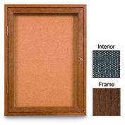 "United Visual Products 18""W x 24""H 1-Door Enclosed Black Easy Tack Board with Walnut Frame"