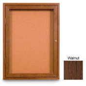 """United Visual Products 24""""W x 36""""H 1-Door Non-Illuminated Corkboard with Walnut Frame"""