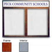 """United Visual Products 48""""W x 36""""H 2-Door Enclosed Gray Easy Tack Board with Header and Cherry Frame"""