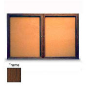 "United Visual Products 48""W x 36""H 2-Door Illuminated Corkboard with Walnut Frame"