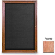 """United Visual Products 24""""W x 36""""H 1-Door Indoor Wood Enclosed Letter Board with Light Oak Frame"""