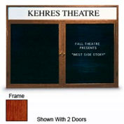 "United Visual 36""W x 36""H 1-Door Indoor Illuminated Enclosed Letter Board w/Header & Cherry Frame"