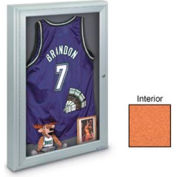 "United Visual Products 24""W x 36""H 1-Door Radius Framed Indoor Enclosed Corkboard"