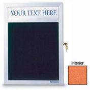 """United Visual Products 12""""W x 18""""H Slim Style Enclosed Corkboard with Header and Satin Frame"""
