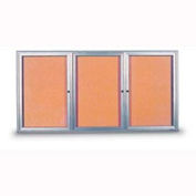 "United Visual Products 96""W x 48""H 3-Door Indoor Enclosed Corkboard with Radius Frame"