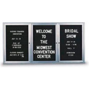 """United Visual Products 72""""W x 48""""H 3-Door Indoor Enclosed Letter Board with Radius Frame"""