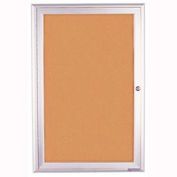 "United Visual Products 24""W x 36""H 1-Door Outdoor Enclosed Corkboard with Radius Frame"